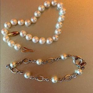 Two faux pearl bracelets